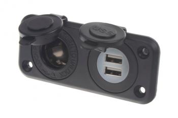dvojitá zásuvka do panelu 1x CL + 2x nabíječka USB voděodolná