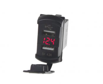 """2x USB zásuvka s voltmetrem """"Rocker"""""""