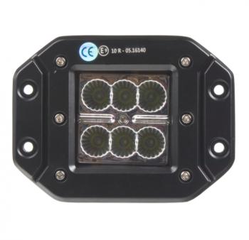 LED světlo hranaté, 6x3W, 122x91x68mm, ECE R10